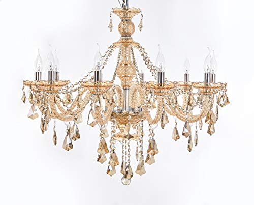 Top Lighting 10-Light Chrome Finish Crystal Chandelier Pendant Ceiling Light Clear European Crystal, 22