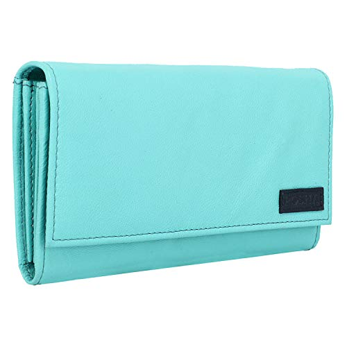 POSHA RFID Protected 100% Genuine High Quality Green Leather Women's Clutch - Gift Leather Clutch for Girl, Wife, Girlfriend (Green)