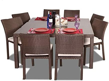 Atlantic Patio Liberty 9-Piece Patio Armless Dining Table Set Wicker | Ideal