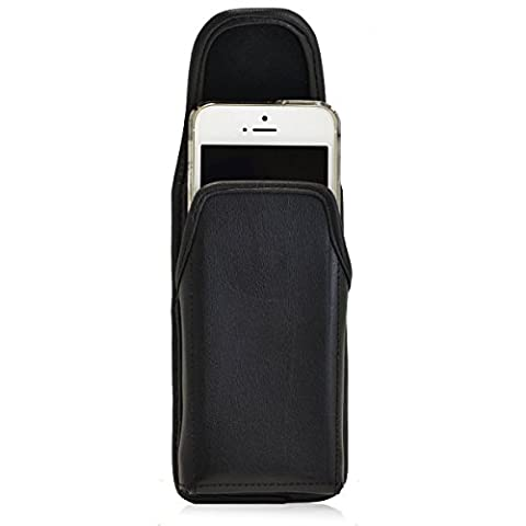 iPhone SE and 5 Holster Turtleback Vertical Apple iPhone SE 5 5s 5c Belt Case, Executive Metal Belt Clip, Black Leather Pouch, Made in - Iphone Vertical Case