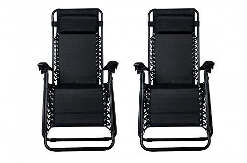 Zero Gravity Chairs Case Of (2) Black Lounge Patio Chairs Outdoor Yard Beach O62