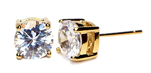 (Yellow Gold Plated studs Round Basket Setting Earrings Surgical Stainless Steel Hypoallergenic with Cubic Zirconia Earring – Perfect for any occasion - Great for sensitive ears (8MM Gold)