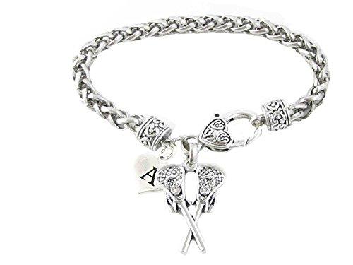- Custom Crystal Lacrosse Sticks Silver Bracelet Jewelry Choose Initial All 26