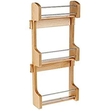 Rev A Shelf   4SR 15   Small Cabinet Door Mount Wood 3 Shelf Spice Rack Part 65