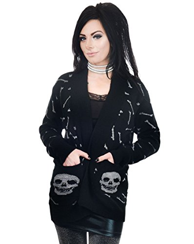 - Too Fast Women's Glitter Metallic Skeleton Skull & Crossbones Long Tunic Length Cardigan Sweater X-Large