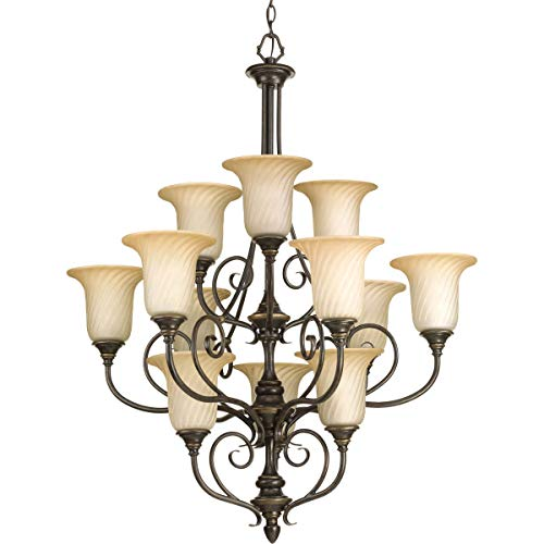 Progress Lighting P4314-77 Med 3-Tier Chandelier, ()
