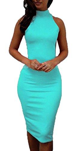 Jaycargogo Des Femmes De Robe Sans Manches Sexy Moulante Col Haut Soir Culb Midi Robe Bleu Clair