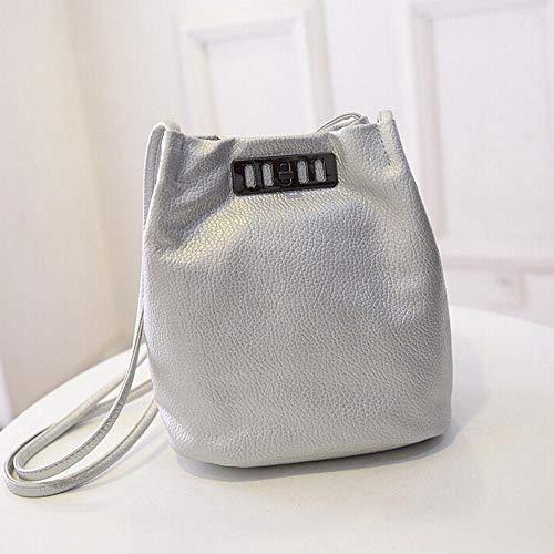 Faux Amaone Silver Leather Girls Women Elegant Top Handbags Purse Solid Bucket Fashion Handle Messenger Satchel Tote Bag Shoulder Lock For Bag Colour Ladies Crossbody BRgBZxq