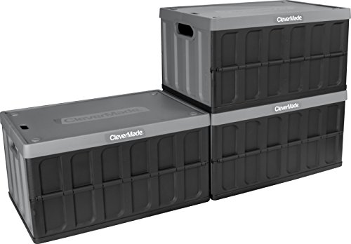 CleverMade CleverCrates 62 Liter Collapsible Storage Bin/Container: Solid Wall Utility Basket/Tote with Lid, Charcoal, 3 Pack