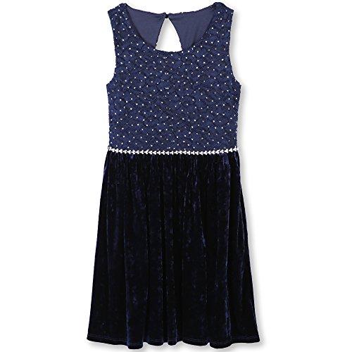 Speechless Big Girls' Lace Sparkle Waist Party Dress , Navy Velvet, 12