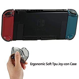 Protective Dockable Cover Case for Nintendo Switch with Joy Con Thumb Grip Set Joystick Caps for Nintendo Switch Joy-con Controller, Soft TPU Grip Case and 4 Silicone Analog Thumb Stick Caps
