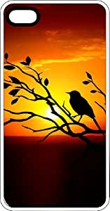 Sunset Bird In Bush Silhoutte White Rubber Case for Apple iPhone 4 or iPhone 4s