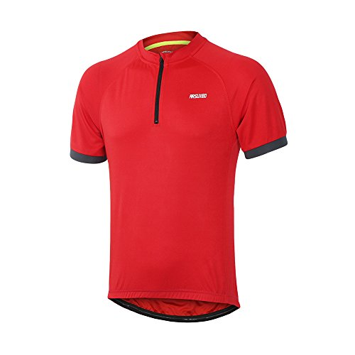 ARSUXEO Men's Cycling Jerseys Short Sleeves MTB Bike Shirt 635 Red Size Small ()