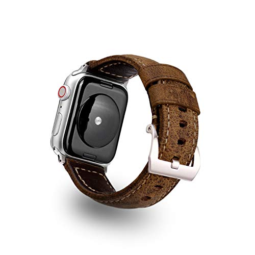 Genuine Leather Band Compatible with Apple Watch 42/44 mm Stainless Steel Hardware by Bullstrap Official (Vintage with Silver - Bling Genuine