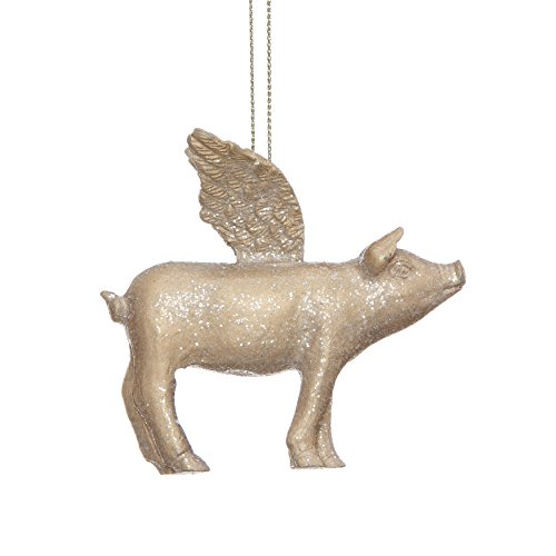 Creative Co-op Resin Flying Pig Ornament