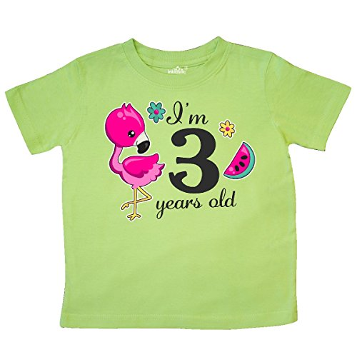 Creative Gifts Lime Green (inktastic I'm 3 Years Old with Flamingo and Toddler T-Shirt 3T Key Lime 2f075)