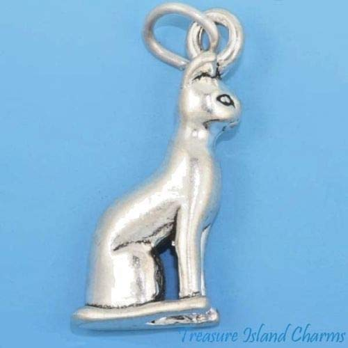 (Charm - Sterling Silver - Jewelry - Pendant - Egyptian Siamese Cat)