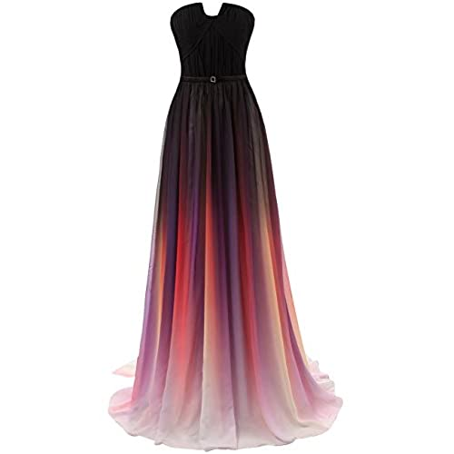 JAEDEN Gradient Chiffon Formal Evening Dresses Long Party Prom Gown Black US4