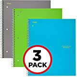 "Five Star Spiral Notebooks, 3 Subject, College Ruled Paper, 150 Sheets, 11"" x 8-1/2"", Assorted Colors, 3 Pack (73481)"