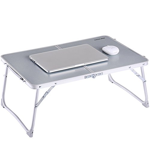 Foldable Laptop Table | Superjare Bed Desk | Breakfast Serving Bed Tray | Portable Mini Picnic Table & Ultra Lightweight | Folds in Half w' Inner Storage Space - Silver (Breakfast With Storage Table)