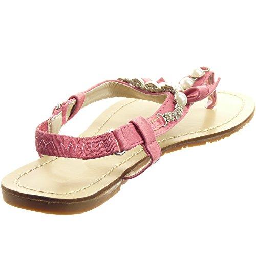 Sopily - Chaussure Mode Sandale Tong Claquettes Cheville femmes Perle nœud strass diamant Talon bloc 0.7 CM - Fuschia