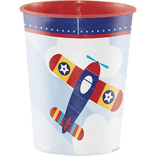 - Creative Converting 16Oz Lil' Flyer Airplane Birthday Party Plastic Keepsake Favor Cup Party Supplies, Multicolor