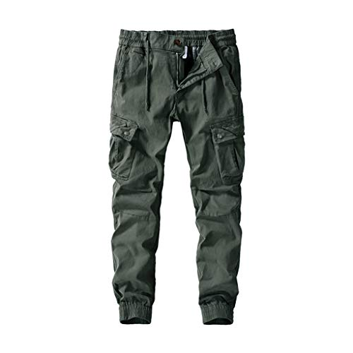 FKSESG Pants for Men Men's Pleated Multi Pockets Mid Waist Solid Loose Long Pants Army Green