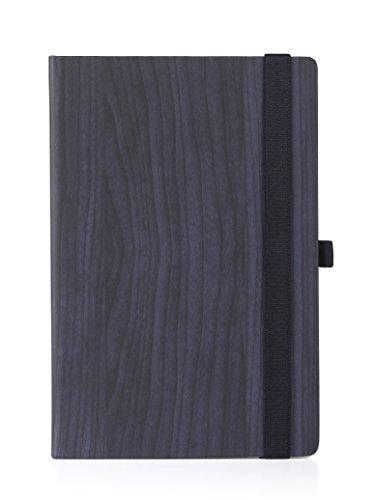 Premium UberWorks GAYA Dark Navy Blue Wood Theme Hardcover Notebook/Bullet Journal/Sketchbook with High-Strength Elastic Closure & Pen Loop, Medium A5 Size, 192 Plain/Clear Premium 80gr. Paper & Index (Blue Plain Journal)