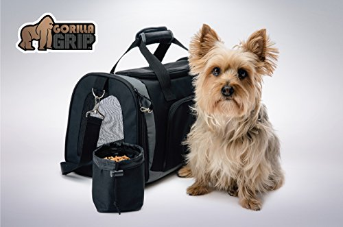 Gorilla Grip Original Pet Purse Carrier Bag for Dogs or Cats, Free Bonus Travel Bowl, Locking Safety Zippers, Airline Approved, Up to 15lbs, Sherpa Insert, Perfect for Airplane, Train, and Car Travel