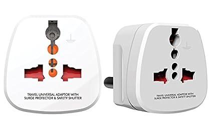 GM 3-Pin Universal Travel Adaptor (White, Pack of 2)