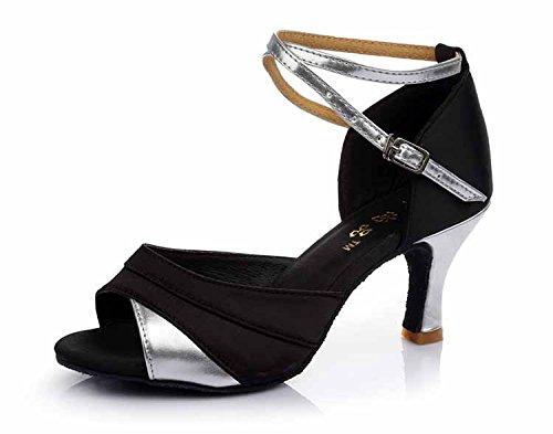 YFF Mädchen Ballroom tango Frauen salsa Latin Dance Schuhe 5 cm und 7 cm hohem Absatz,Schwarz Silber 7 cm,9.