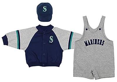 Mighty Mac Seattle Mariners MLB Baby Boys Infant 3 Piece Set Jacket Shortall Cap, Navy/Grey