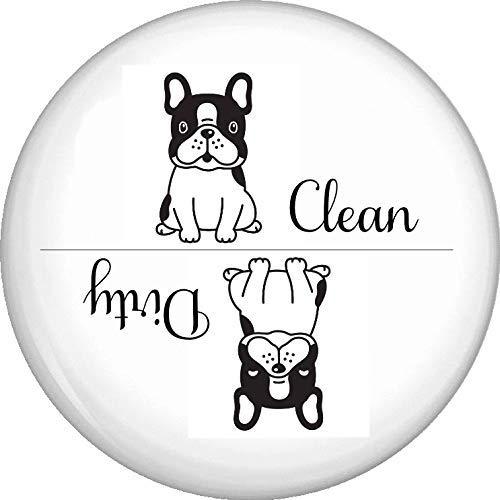 French Bulldog Clean Dirty Dishwasher Appliance Refrigerator Magnet 2.25 Inch Round