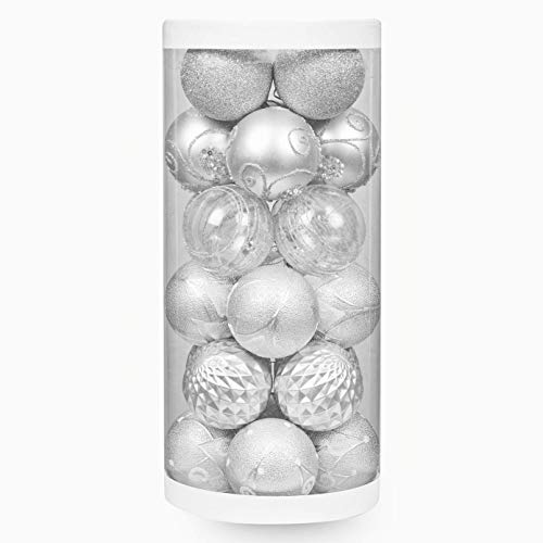 "ChristmasExp 60mm/2.36"" Christmas Ball Ornaments Shatterproof Painting & Glitering Christmas Decorations Tree Balls for Holiday Xmas Party Decoration Tree Ornaments 24ct (Silver)"