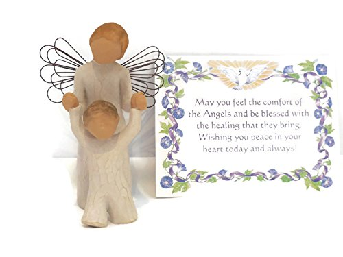 Willow Tree Guardian Angel Figurine. Perfect Christening-Baptism-Baby Shower Gift Boxes For Girls/Boys - Boy Angel Figurine