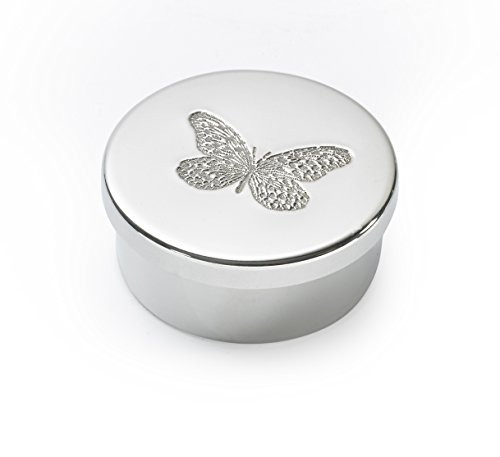 Wentworth Pewter - Small Butterfly Pewter Round Trinket Box, Pill Box, Gift - Diameter:50mmH:25mm
