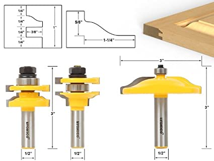 Yonico 12335 Raised Panel Cabinet Door Router Bit Set with 3 Bit Ogee 1/2-Inch Shank - - Amazon.com