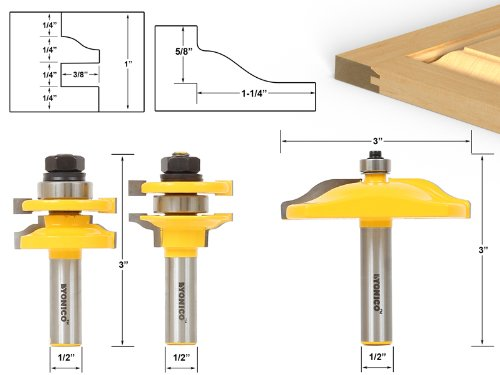 Yonico 12335 Raised Panel Cabinet Door Router Bit Set with 3 Bit Ogee 1/2-Inch Shank - Make Raised Panel Doors