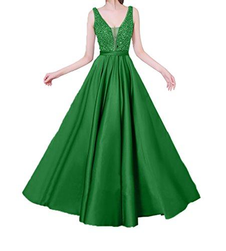 Perlen Grün 2018 Abendkleider Damen Partykleider mit Festlichkleider Lang Neu Abschlussballkleider Pailletten Charmant wOTPxqvaq