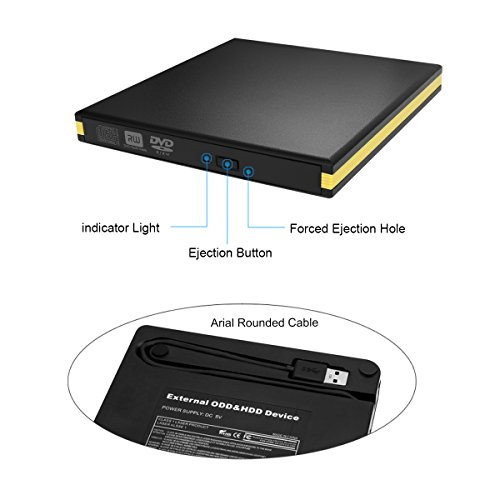 USB 3.0 External DVD Drive, BEVA Portable CD DVD Drive Player External Burner Reader Writer Disk for Laptop Desktop Macbook Mac OS Windows 10 8 7 XP Vista by BEVA (Image #1)