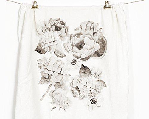 Honey Brush Design Kitchen Dish Towel 100% Cotton Flour Sack Tea Towel (Monochromatic Floral)