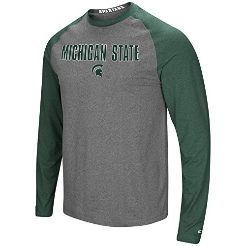 Colosseum Men's NCAA-Buzzer Beater- Long Sleeve Raglan T-Shirt-Michigan State Spartans-Heathered Green/Heathered Charcoal-Large