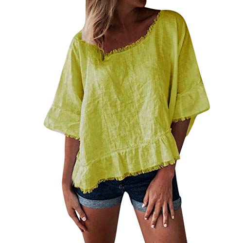 Women Shirts Clearance Summer Hosamtel Casual Elegant Loose Fit Ruffle Blouse T-Shirts Tops for Women Short Bell Sleeve ()
