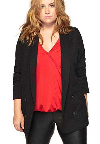 Double Breasted Shawl Collar - Castaluna Women's Plus Size Shawl-Collar Double-Breasted Blazer Black, 22 W