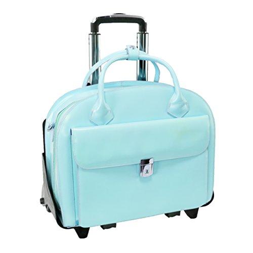 Briefcase Removable Ladies Wheeled (McKleinUSA GLEN ELLYN 94368 Blue Leather Detachable-Wheeled Women's Case)
