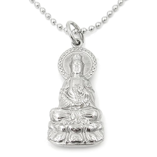 (Stainless Steel Guan Yin Godness of Mercy Pendant Necklace)