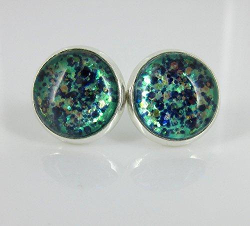 [Silver-Tone Mermaid Tail Glitter Glass Stud Earrings 1/2