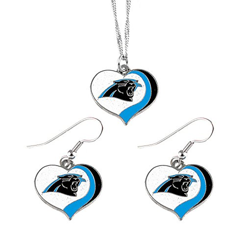 aminco Carolina Panthers Sports Team Logo Glitter Heart Necklace and Earring Set ()