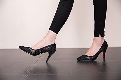 7 ZHANGYUSEN Joker tacchi e Estate di nuovo tacco scarpe Professional appuntito 5Cm alti Nero alto FwFrOq
