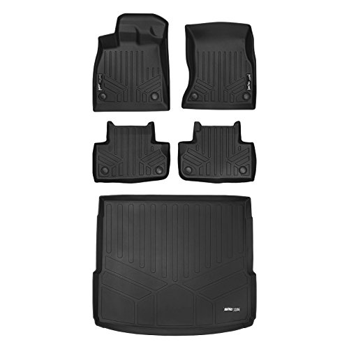 SMARTLINER Floor Mats 2 Rows and Cargo Liner Behind 2nd Row Set Black for 2018 Audi Q5 / SQ5